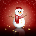 Christmas card vector illustration of a small snowman Royalty Free Stock Photography