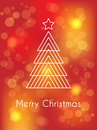 Christmas card vector with white tree and star on a red abstract background Royalty Free Stock Images