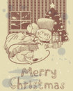 Christmas card vintage with sleeping children at night Royalty Free Stock Images