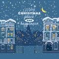 Christmas card, winter, cityscape, snowing, night, illuminated window Royalty Free Stock Photo