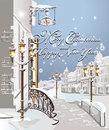Christmas card winter on the streets of old city Royalty Free Stock Images