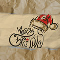 Christmas card wrinkled recycle paper background as vintage style concept Stock Photo