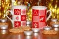 Christmas card xmas decoration stock photos candles mugs on gold blur background Royalty Free Stock Photos