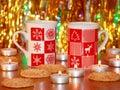 Christmas card xmas decoration stock photos candles mugs on gold blur background Stock Image