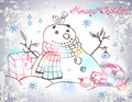 Christmas card for xmas design with hand drawn snowman gifts and bird Stock Images