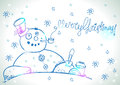Christmas card for xmas design with hand drawn snowman and text merry Stock Photos