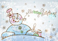 Christmas card for xmas design with hand drawn snowman and text merry Royalty Free Stock Image