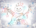 Christmas card for xmas design with snowman birds gift and hand drawn Stock Image