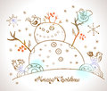 Christmas card for xmas design with snowman hand drawn and birds Royalty Free Stock Photography