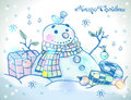 Christmas card for xmas design with snowman hand drawn gifts and bird Royalty Free Stock Photo