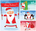 Christmas cards with cute santa claus Royalty Free Stock Images