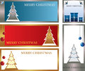 Christmas cards five different with tree and gifts Stock Photo