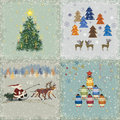 Christmas cards four square retro Stock Photography