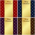 Christmas cards with gold banners vector illustration set of Royalty Free Stock Photography