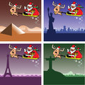 Christmas cards, Santa and deer travel Stock Photography