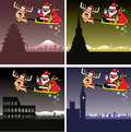 Christmas cards, Santa and deer travel Royalty Free Stock Images