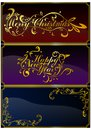 Christmas cards set vector of with ornate richly decorated with ornaments in russian and english languages Royalty Free Stock Photography