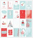 Christmas cards templates with cats, Santa Claus, owl, pig and hand drawn greeting text