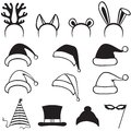 Christmas carnivals hats set caps mask and ears Royalty Free Stock Photo