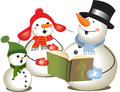 Christmas carols family of three snowmen singing Stock Images