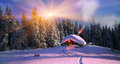 Christmas in the carpathians climbing to tourist wild alpine mountain to an abandoned cabin order to illuminate snow covered Royalty Free Stock Image
