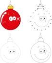 Christmas cartoon ball. Dot to dot game for kids