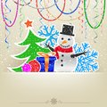 Christmas cartoon card snow and bauble with snowman fir tree present hanging baeds ribbons on the light background Stock Photo