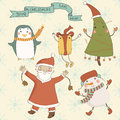 Christmas cartoon characters against a snowy backg background santa claus snowman gift tree penguin Stock Photo