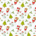 Christmas cartoon characters seamless pattern Royalty Free Stock Photos