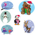 Christmas cartoon characters set Royalty Free Stock Photography