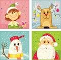 Christmas Cartoon Characters Vector Set Royalty Free Stock Photo