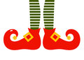 Christmas cartoon elfs legs elvish with striped patterned pants vector illustration Royalty Free Stock Images