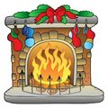 Christmas cartoon fireplace Stock Photos