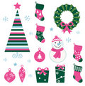 Christmas cartoon icons & elements (green, pin Stock Photos
