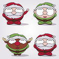 Christmas cartoon santa claus elf and reindeer Royalty Free Stock Images