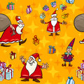 Christmas cartoon seamless pattern wrapper illustration of santa claus and other characters and themes for or paper pack Royalty Free Stock Photos