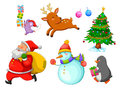 Christmas cartoons set of related to winter and Stock Image