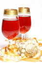 Christmas celebration - glasses with wine Royalty Free Stock Photos