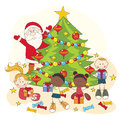 Christmas celebration. Santa and children Royalty Free Stock Photo