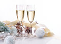 Christmas celebration two champagne glasses Stock Image