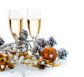 Christmas celebration two champagne glasses Royalty Free Stock Photos