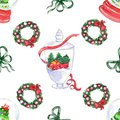 Christmas centrepiece element seamless pattern