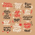 Christmas chalk lettering vector set on craft. Isolated handwriting