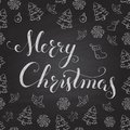 Christmas chalkboard with lettering pattern calligraphy merry Royalty Free Stock Photo