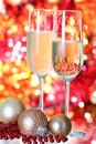 Christmas champagne against blurred background Royalty Free Stock Photo