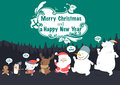 Christmas character and New Year Vector greeting card