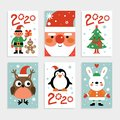 Christmas characters card set. Santa, penguin and fir-tree, white rabbit and owl, elf with gift. 2020 new year party