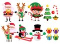 Christmas characters and elements vector set with santa claus, reindeer, elf and snowman Royalty Free Stock Photo