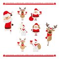 Christmas characters set santa claus reindeer snowman Stock Photo