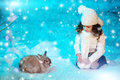 Christmas child girl on winter tree background, snow, snowflakes Royalty Free Stock Photo